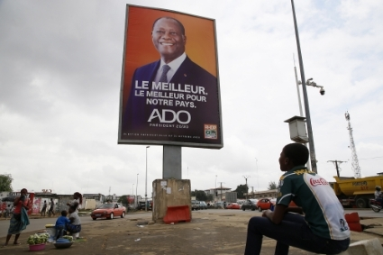 A campaign poster for Alassane Ouattara in Abidjan, 15 October, 2020.