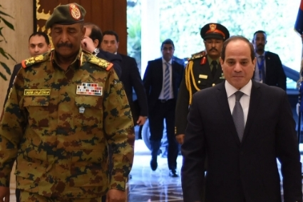 The president of Sudan's Sovereign Council Abdel Fattah Al Burhan and the Egyptian president Abdel Fattah al-Sisi.