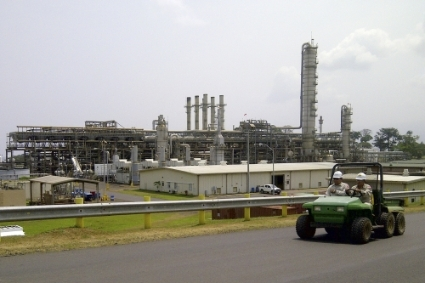 The gas installations at Punta Europa, on the island of Bioko, in Equatorial Guinea.
