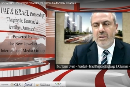 Screenshot of the webinar 'UAE & Israel Partnership: changing the diamond and jewelery dynamics'.
