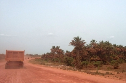 The passage of trucks transporting bauxite throws up toxic red dust, pictured here in the vicinity of Boké.