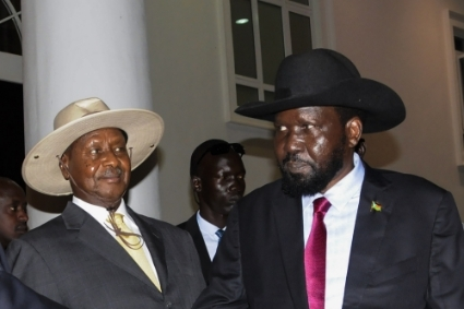 Presidents Yoweri Museveni (Uganda) and Salva Kiir (South Sudan).