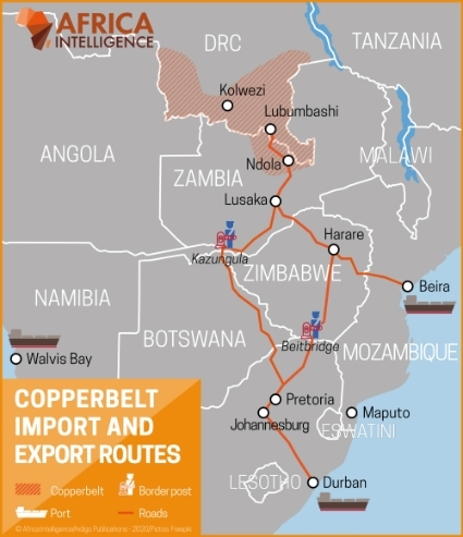 Copperbelt import and export routes.