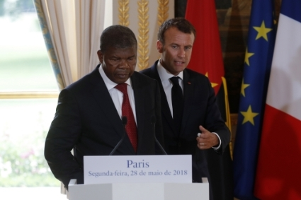 French President Emmanuel Macron received his Angolan counterpart João Lourenço in Paris in May 2018.