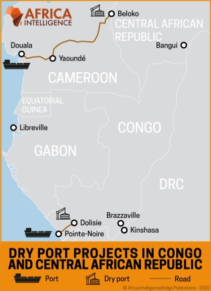 Dry port projects in Congo and the Central African Republic.