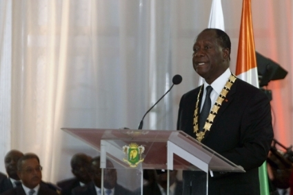 President Alassane Ouattara speaks during his inauguration ceremony on 3 November 2015.
