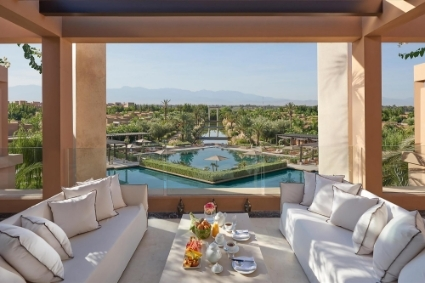 A suite at the Mandarin Oriental hotel in Marrakech.