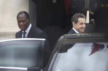 Ivorian president Alassane Ouattara and his then outgoing French counterpart Nicolas Sarkozy in May 2012.