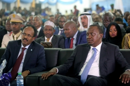 President of Kenya Uhuru Kenyatta (right) with President of Somalia Mohamed Abdullahi Mohamed Farmajo in 2017.