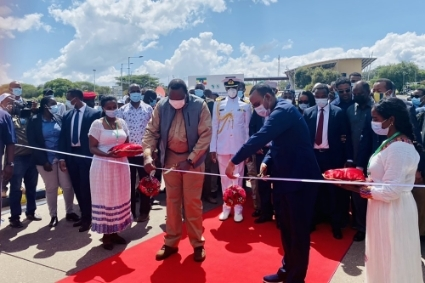 Kenyan President Uhuru Kenyatta and Ethiopian Prime Minister Abiy Ahmed Ali at the inauguration of the Moyale border crossing in December 2020.