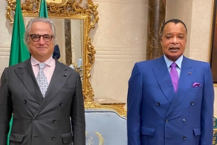 Andrea Cattaneo, president and founder of Zenith Energy, during his meeting with Congolese President Denis Sassou Nguesso in October 2020.
