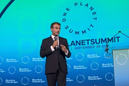 French President Emmanuel Macron at the One Planet Summit in New York City on 29 September 2018.
