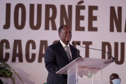 Alassane Ouattara, on National Cocoa and Chocolate Day, in November 2020.