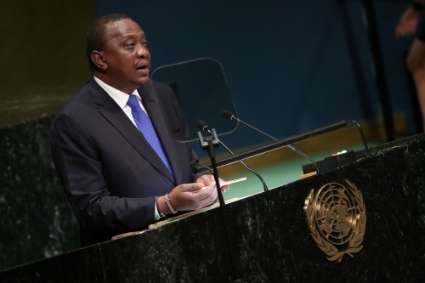 Kenya's President Uhuru Kenyatta during the 73rd United Nations General Assembly.