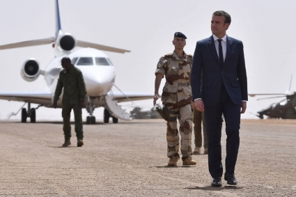 French President Emmanuel Macron visiting Gao, northern Mali.