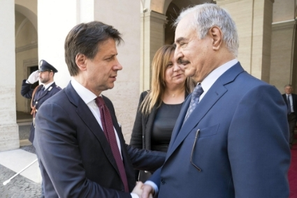 Italian Prime Minister Giuseppe Conte and Khalifa Haftar in Rome in May 2019.