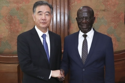 Ugandan Vice President Edward Ssekandi (right) with Wang Yang, Chairman of the National Committee of the Chinese People's Political Consultative Conference (CPPCC), in 2018.