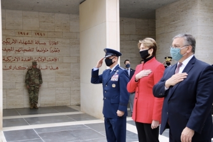 US Air Force commander for Europe and Africa Gen. Jeff Harrigian, Air Force secretary Barbara Barrett, and US ambassador to Tunisia Donald Blome attend a ceremony at a US cemetery in Tunisia on 6 January.