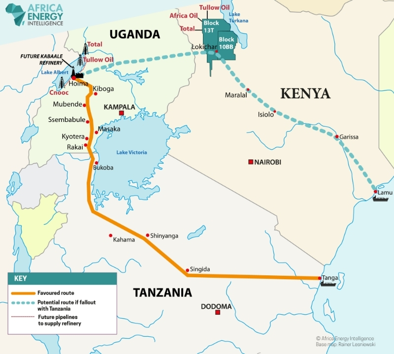 Future infrastructure for oil extraction around Lake Albert