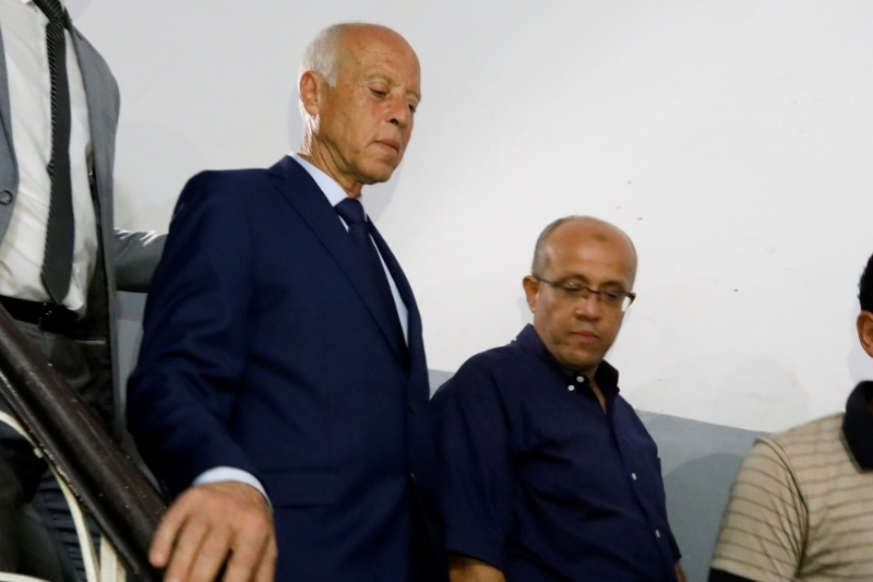 Presidential candidate Kais Saied and his brother Naoufel Saied, Tunisia.