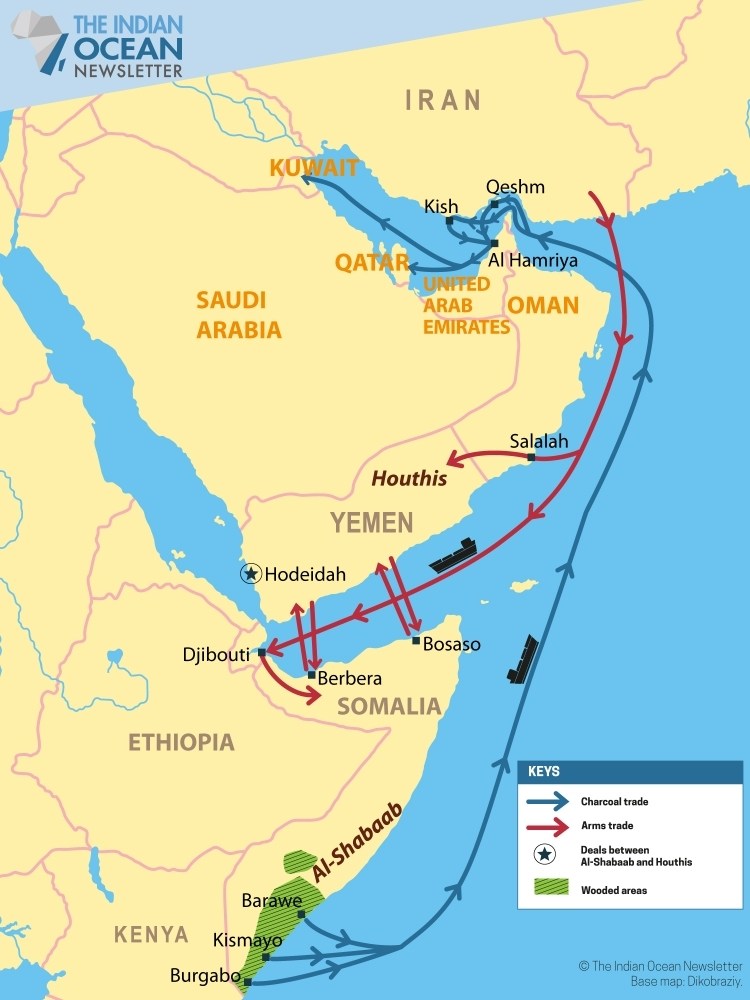 Charcoal and weapons trade network between Somalia, Iran and the Arabian peninsula.