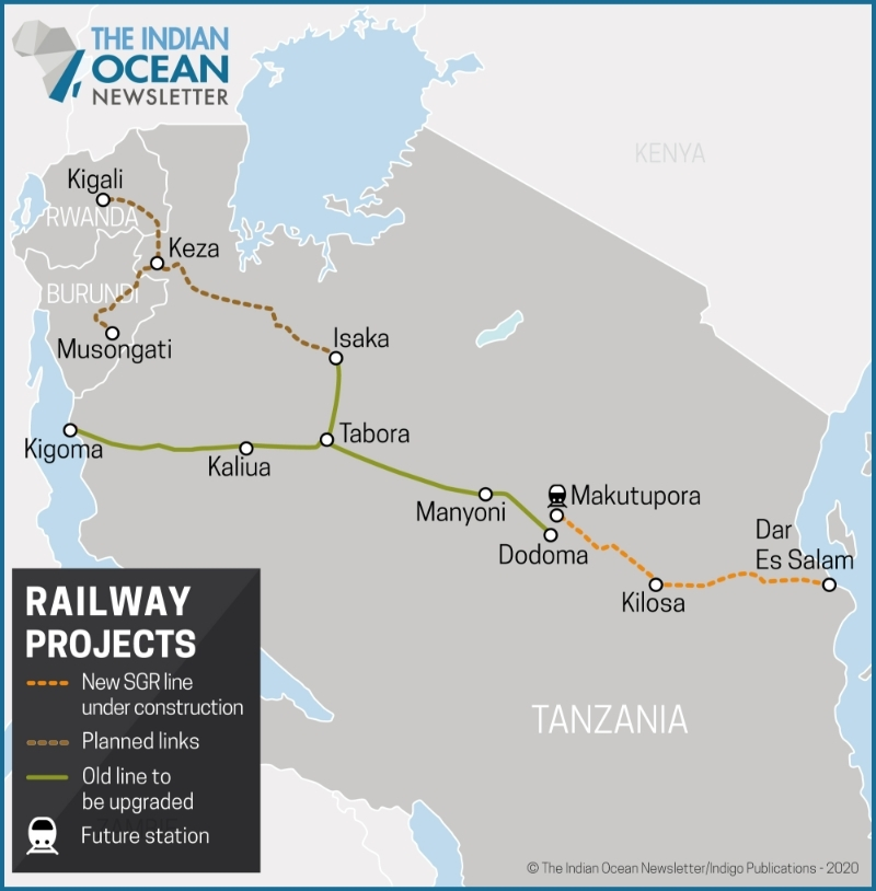 Cross-border rail projects between Tanzania, Rwanda and Burundi.