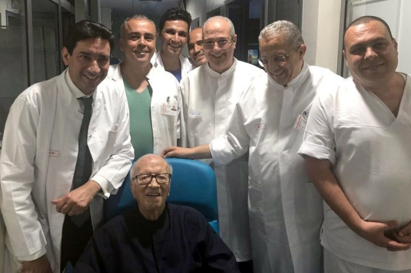 Tunisian President Beji Caid Essebsi is pictured surrounded by medical staff members in Tunis.