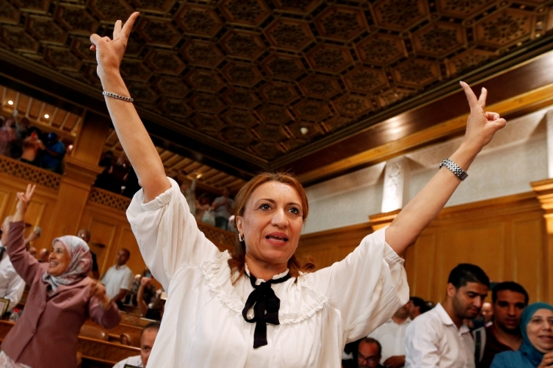 Souad Abderrahim celebrates after being elected mayor of Tunis