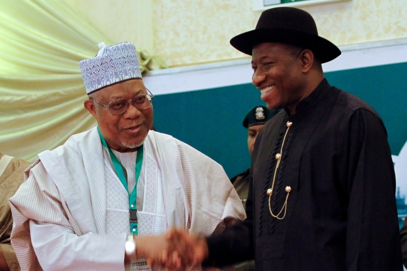 Umaru Mutallab in 2013 with then Nigeria's President Goodluck Jonathan.