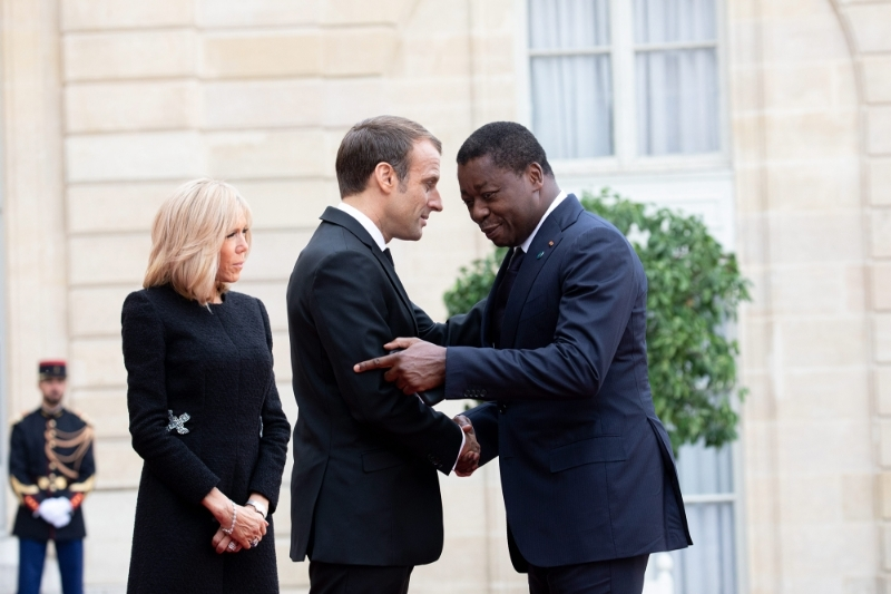 Togolese President Faure Gnassingbé received at the Elysée Palace by his French counterpart Emmanuel Macron and his wife Brigitte in September 2019.