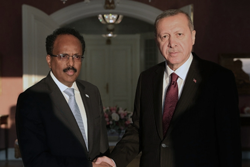 Somali president Mohamed Abdullahi Mohamed aka Farmajo (left) with his Turkish counterpart Recep Tayyip Erdogan.