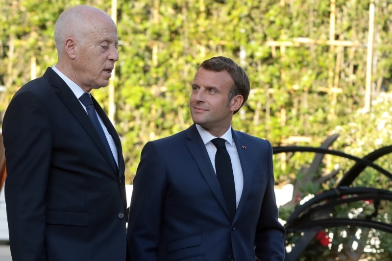 Tunisian President Kaïs Saïed with his French counterpart Emmanuel Macron in Paris in June 2020.
