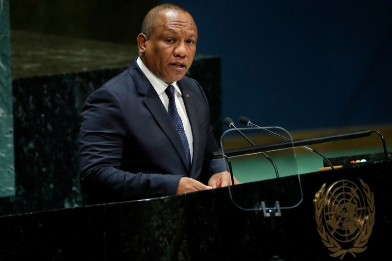 Madagascar Prime Minister Christian Ntsay addresses the 74th session of the United Nations General Assembly in New York in 2019.
