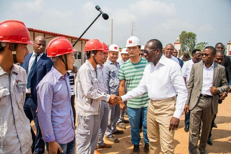 Beninese President Patrice Talon saluting Poly Technologies employees on the Allada barracks site (February 1, 2020).
