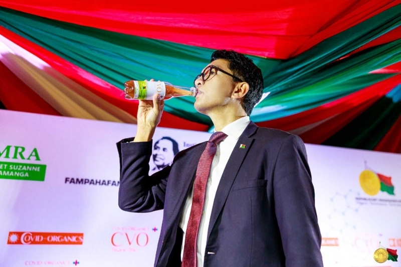 President Andry Rajoelina at the launch of his herbal drink.