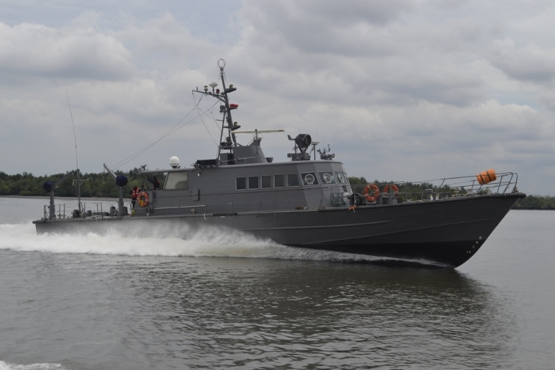 One of the 42 vessels operated by the private security firm OMS.
