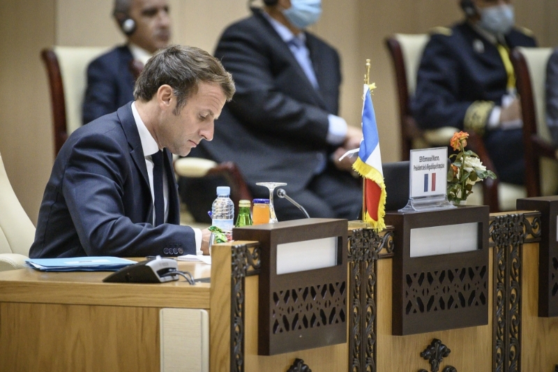 French President Emmanuel Macron during a meeting with the presidents of the G5 Sahel in Nouakchott.