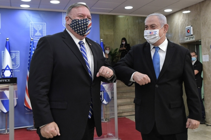 US Secretary of State Mike Pompeo with Israeli Prime Minister Benjamin Netanyahu in Jerusalem, 24 August 2020.