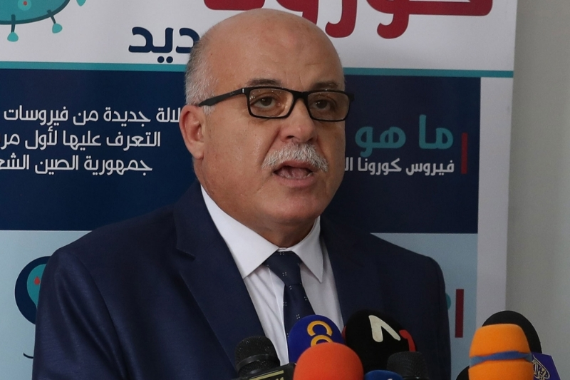 Tunisian health minister Faouzi Mehdi speaks during a press conference on 5 October 2020.