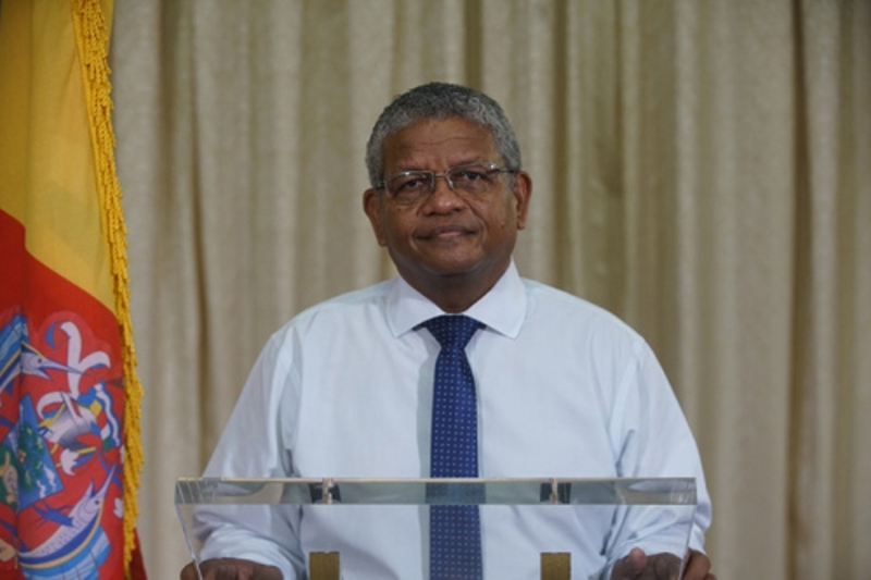 The President of the Republic of Seychelles, during his speech at the One Planet Summit.