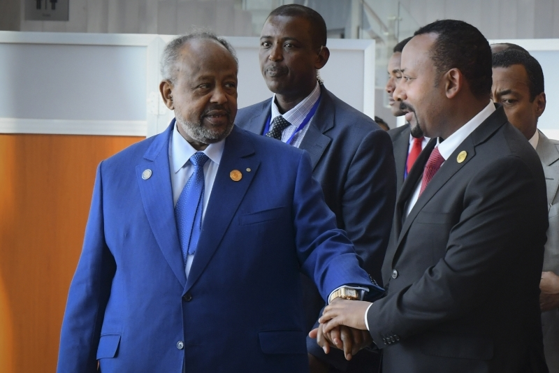 President of Djibouti Ismail Omar Guelleh (left) talks with Prime Minister of Ethiopia Abiy Ahmed Ali (right) during the 33rd African Union Summit in Addis Ababa, Ethiopia, 09 February 2020.